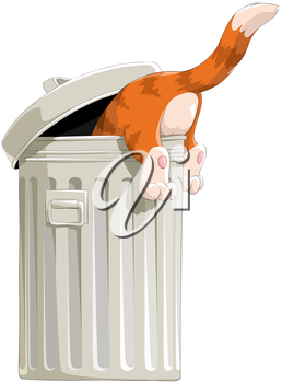 Royalty Free Clipart Image of a Cat in the Garbage