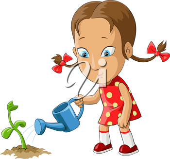 Royalty Free Clipart Image of a Girl Watering a Plant
