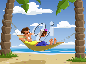Royalty Free Clipart Image of a Man on a Hammock