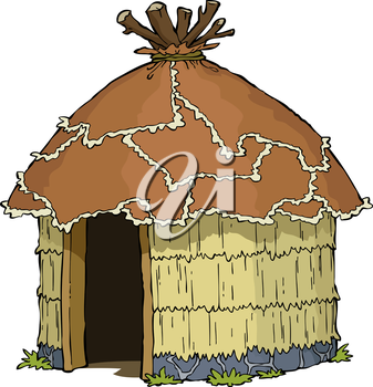 Royalty Free Clipart Image of a Hut