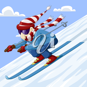 Man descends from the mountain on skis vector