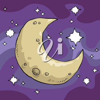 Moon in the night sky background vector illustration