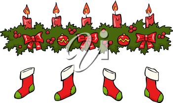 Cartoon holly berry candle socks vector illustration