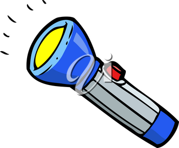 Doodle blue flashlight on a white background vector illustration