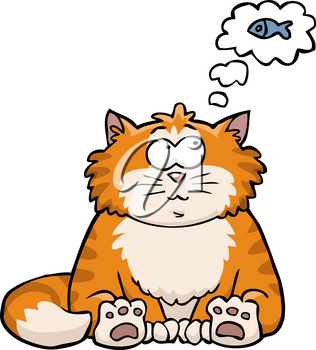 Cat thinks about the fish on a white background vector illustration