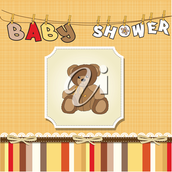 Royalty Free Clipart Image of a Bear on a Baby Shower Background