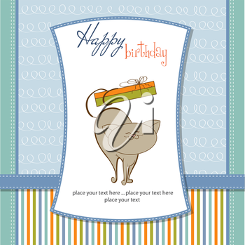 Royalty Free Clipart Image of a Birthday Card With a Cat Holding a Present