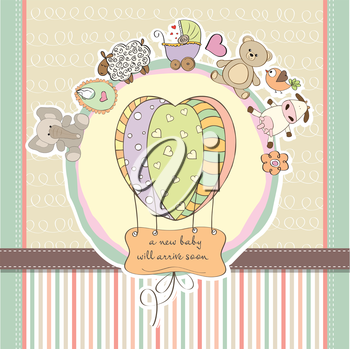 Royalty Free Clipart Image of a Baby Announcement With a Balloon and Animals