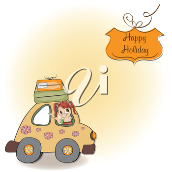 Royalty Free Clipart Image of a Happy Girl in a Card on a Happy Holiday Message