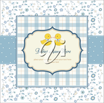 Royalty Free Clipart Image of a Baby Shower Invitation With Two Ducks