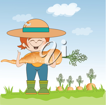 Royalty Free Clipart Image of a Gardener With a Large Carrot