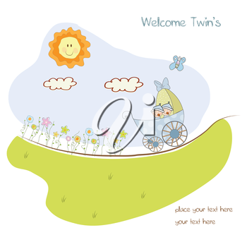 Royalty Free Clipart Image of a Baby Boy Birth Announcement