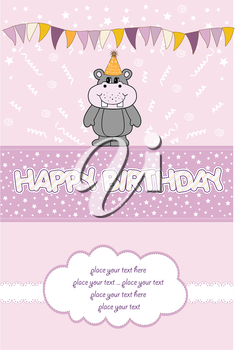 Royalty Free Clipart Image of a Birthday Card With a Hippo