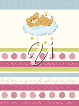 Royalty Free Clipart Image of a Teddy Bear Baby on a Cloud