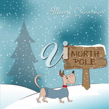 Royalty Free Clipart Image of a Merry Christmas Card With a Dog
