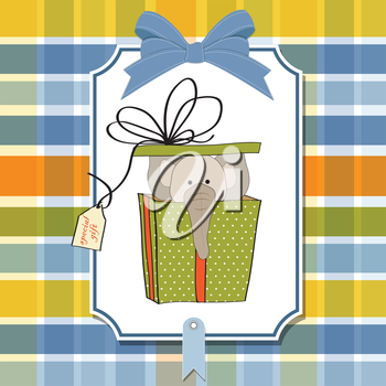 Royalty Free Clipart Image of a Birthday Gift With an Elephant in It