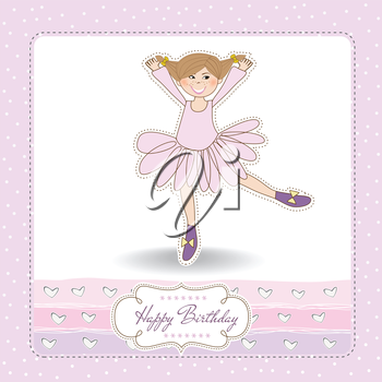 Royalty Free Clipart Image of a Happy Birthday Card With a Ballerina