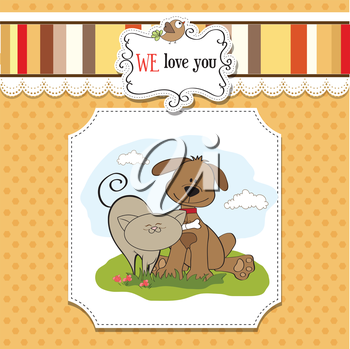 Royalty Free Clipart Image of a Dog and Cat Friendship