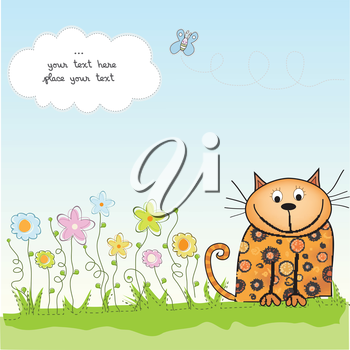 Royalty Free Clipart Image of a Cat on a Card