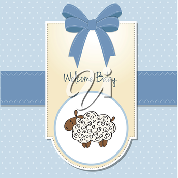 Royalty Free Clipart Image of a Baby Welcome Card With a Sheep on It