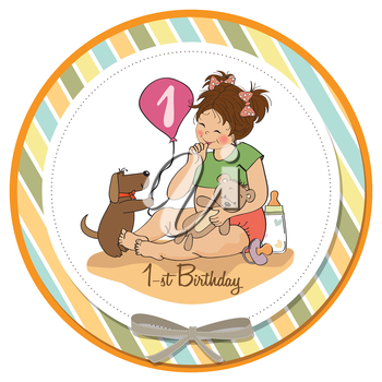 little girl at her first birthday, vector illustration