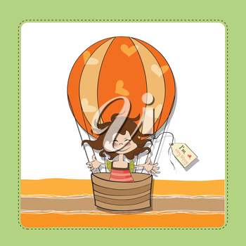 happy girl flying with a balloon flying, vector illustration