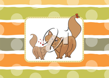 new baby kitten with his mother, vector illustration