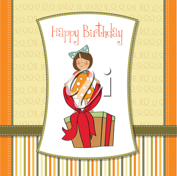 a nice girl with a big gift box, vector illustration