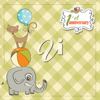 first anniversary card with pyramid of animals, vector illustration