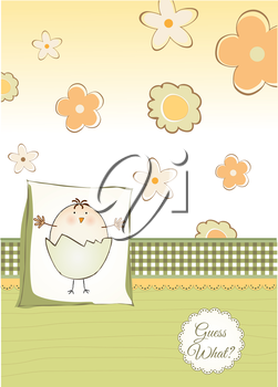 welcome baby card with chicken, vector format
