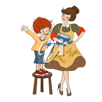 funny boy and his mother isolated on white backdround, vector illustration