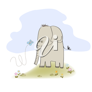 Royalty Free Clipart Image of an Elephant and a Butterfly