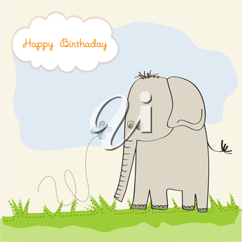 Royalty Free Clipart Image of a Birthday Card With an Elephant and Butterfly