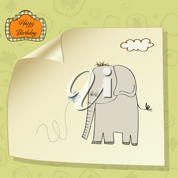 Royalty Free Clipart Image of a Happy Birthday Card With an Elephant and Butterfly