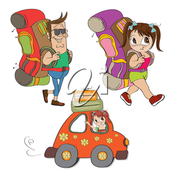 Royalty Free Clipart Image of Tourists