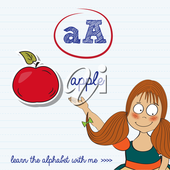 alphabet worksheet of the letter a, vector illustration