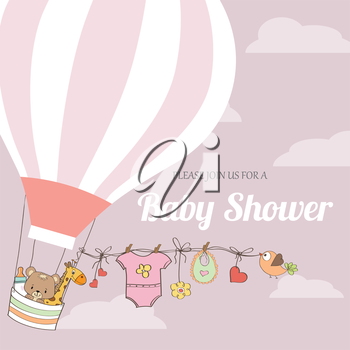 baby girl shower card with hot air balloon, vector eps10