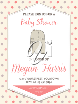 delicate baby girl shower card with little elephant, vector format
