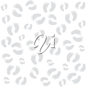 white texture withbaby footprints,  vector format