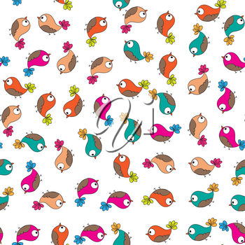 doodle birds seamless pattern, vector format