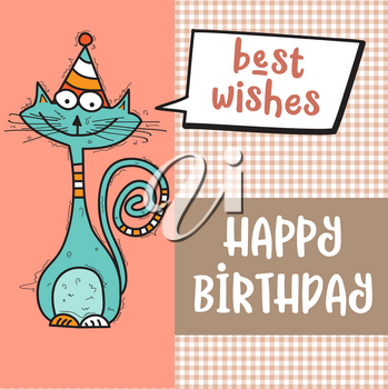 happy birthday card  with funny doodle cat, vector format