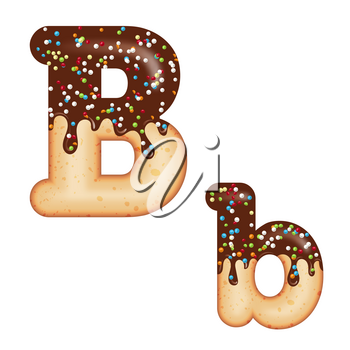 Tempting typography. Font design. Icing letter. Sweet 3D donut  letter B glazed with chocolate cream and candy. Vector