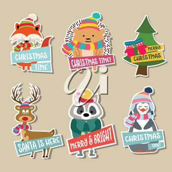 Christmas stickers collection with cute animals and wishes. Flat design