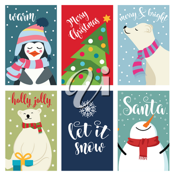 Christmas card collection with polar bears and wishes. Labels. Stickers. Flat design