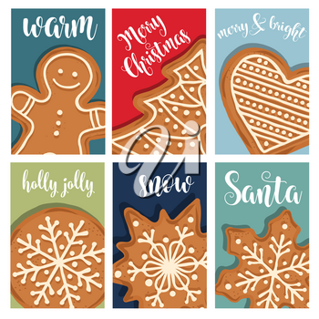 Christmas card collection with gingerbread. Labels. Stickers. Flat design