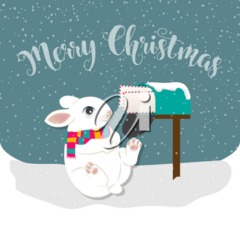 Christmas card with rabbit, Christmas background. Flat design. Vector