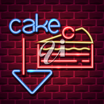 cake neon advertising sign. Vector