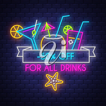 Summer sale banner for drinks. Neon sign lettering. Vector