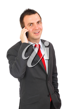 European businessman with cell phone-wonder face. Isolated over white