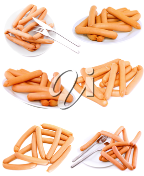 Collection (set)of fresh sausage on white plate with fork and knife. Isolated over white